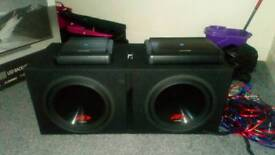 Boom box and amps with all wires