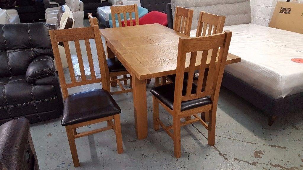 Julian Bowen Astoria Extending Oak Dining Table & 6 Astoria Chairs Free Delivery Derby Nottingham