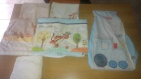 2 cot duvet cover, sheet,nappy holder, curtain