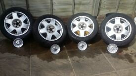"""4 GENUINE VW 16"""" ALLOY WHEELS WITH VW CAPS - USED, NO WHEEL NUTS"""