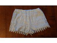 White Frilly Pattern Shorts Size 8