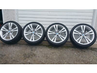 BMW GENUINE 18 '' alloy wheels + 4 x tyres BRIDGESTONE 225 40 18/245 35 18 RUN FLAT