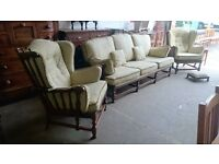 Ercol 3 piece sùite with pouffe (delivery available)