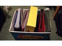 Box of assorted office stuff including presentation wallets, A4 & A5 Files, Box File & lots more