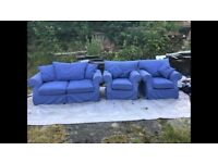 Blue Sofa bed and arm chairs