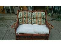 2 seater wicker bench