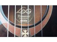Tramontaine LAG. black, nylon electro acoustic with hard case, mahogany inlay trim