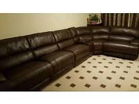 Round corner leather sofa