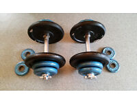 Dumbbell Weights, variety of plates, max weight 16.5kg each