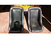 Classic leather bucket seats
