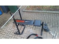 York Workout Bench - includes barbell, dumbells and weights