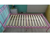 childs Pink bed frame hearts