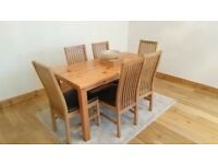 Dining Table and 6 Chairs - Excellent Condition - Oak Stained