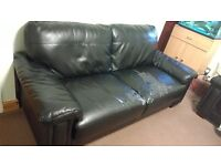 Leather sofas 3 seater (x2)