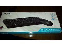 Rapoo   8000-B 2.4G Wireless Multimedia Mini Keyboard & Mouse Combo - Black New
