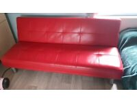 Red faux leather sofa bed excellent condition
