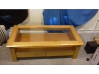 Oak glass Coffee Table, excellent condition .