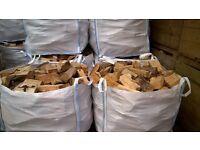 Hardwood firewood for sale in cubic meter bag. £65 per bag.