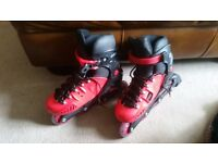 Inline Roller skates red and black size 5-7 POIZON used