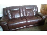 Leather Lazy Boy 3 Piece Suite: Chocolate brown finish