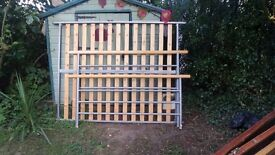 Reduced!! Metal bed frame with pine detail