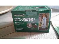 Kelly Kettle small stainless cook set + stand.