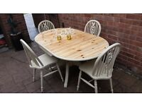 shabby chic , solid pine, drop leaf table and 4 chairs