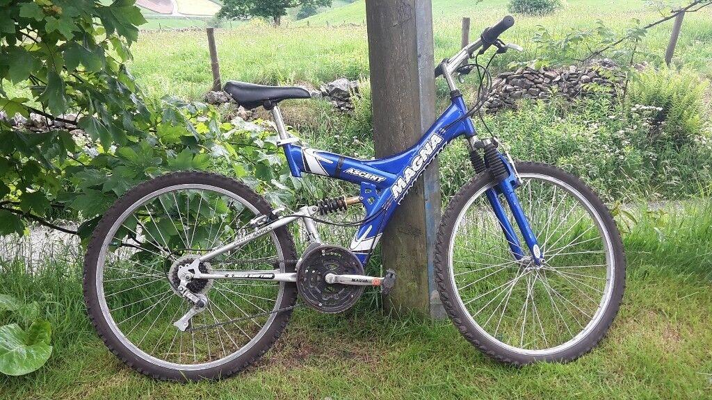 "Unisex Mountain Bike - Magna Ascent, 18"" frame, 15 speeds, full suspension"