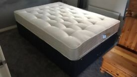 Double bed with storage drawers and mattress