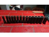 Mac tools long impact six sided socket set 10mm-25mm 15 sockets