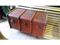 Double depth vintage traveling trunk in fair condition Travelux antique furniture storage prop