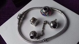 Pandora 18cm bracelet safety chain and charms