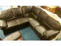 Leather corner sofa with matching armchair