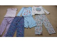 Girls pyjama sets age 8-9 & 9-10. 7 items in total