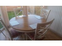 Dining table and four chairs DFS