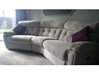 Dfs light grey reclining corner sofa and one chair