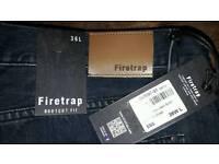 "NEW mens firetrap jeans. 36"" wIst, long leg, Dark blue"