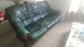 3+1+1 Real leather and Hardwood Sofa suite