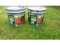 1 and 3/4 tube of 5ltr ronseal medium oak one coat shed and fencing paint