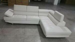 SALE ON NOW  2PCS BONDED LEATHER SECTIONAL WITH ADJUSTABLE HEAD REST $699LOWEST PRICES GUARANTEED