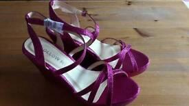 Pink glitter wedge sandals