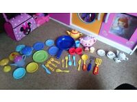 Kids kitchen toys bundle with fisher price musical kettle