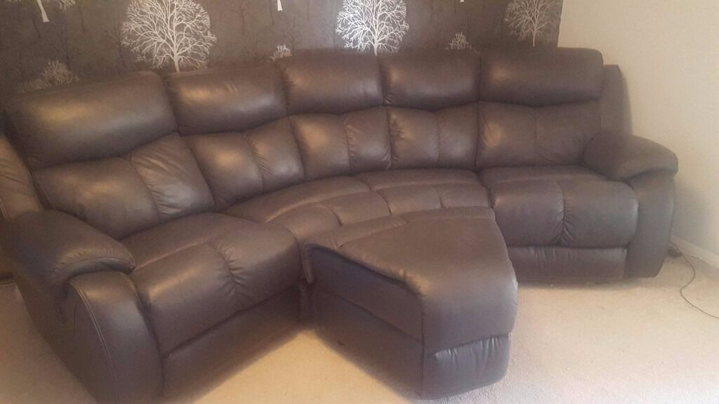 Curved Leather Sofa Memphis Electric Recline With Storage Footstool Black Offers