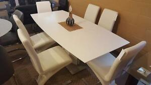 WAREHOUSE DIRECT SALE ON NOW Get THIS 7PC modern dinnette  WITH 6 CHAIRS ONLY $998 LOWEST PRICE GUARANTEE Free delivery