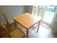 Oak extending dining Table + 4 chairs