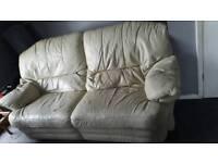 Reclining leather sofa white
