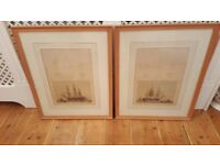pair of antique oak shipping pictures