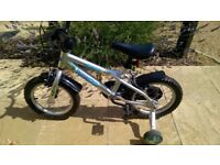 Silver unisex bike with stabilisers, mint condition
