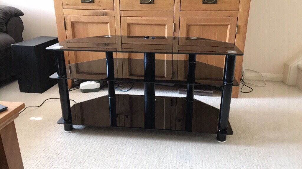 Black Gl Tv Stand Three Shelves Width 39 Inch Height 20