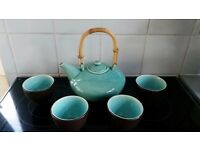 Stoneware Turquoise crackle effect bamboo handle oriental teapot & 4 cups